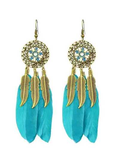 Lightblue Ethnic Style Colorful Feather Long Chandelier Earrings