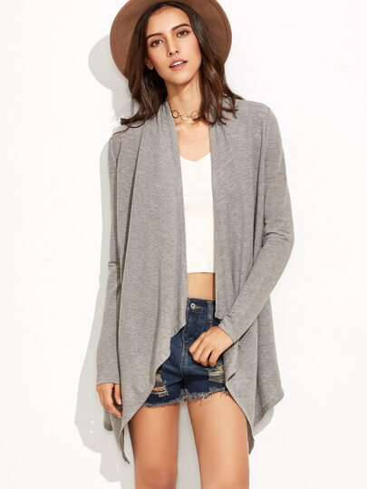 Heather Grey Draped Collar Duster Coat