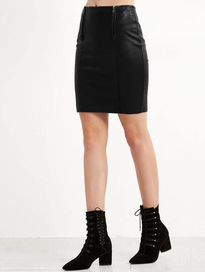 Black Zipper PU Split Bodycon Skirt