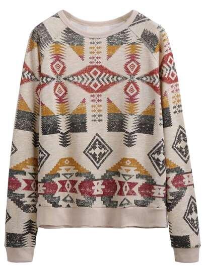 Apricot Geometric Print Raglan Sleeve Sweatshirt