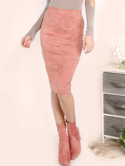 Pink Suede Pencil Skirt