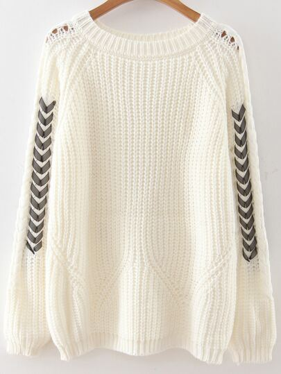 White Lace Up Sleeve Raglan Sleeve Sweater