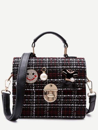 Black Cloth Jewelled Box Handbag With Strap
