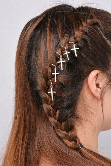 5PCS Silver Plated Cross Hair Accessories