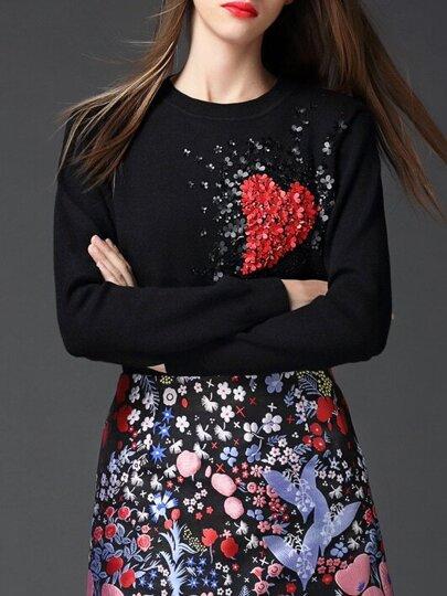 Black Heart Applique Pouf Sweater