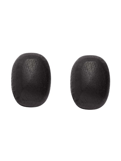 Black Oval Wooden Stud Earrings