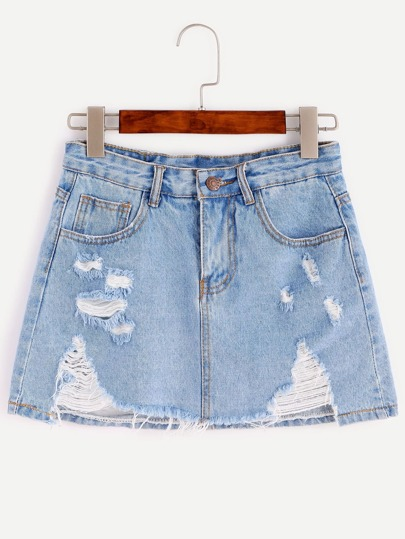 Blue Bleach Wash Distressed Denim Skirt