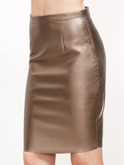 Gold Zipper Back Metal Skirt