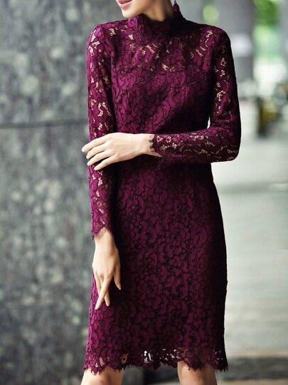 Vestido ajustado de encaje - violeta