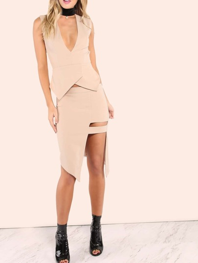 Asymmetrical Leg Bar Slit Skirt BEIGE