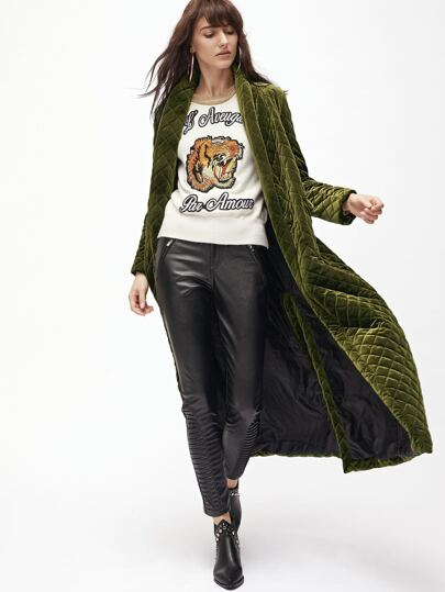 Olive Green Shawl Collar Quilted Velvet Coat