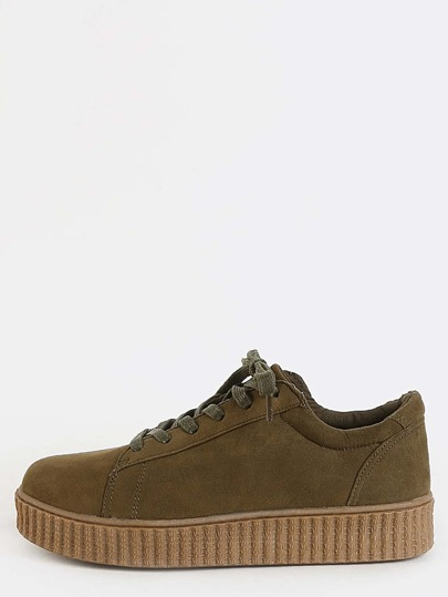 Gum Sole Faux Suede Sneakers OLIVE