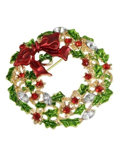 Broche floral en strass comme cadeau de Noël - multicolore