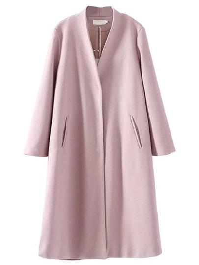 Pink Drawstring Waist Side Slit Long Coat
