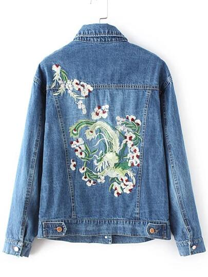 Blue Floral Embroidery Denim Jacket