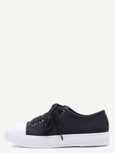 Black Lace Up PU Low Top Sneakers