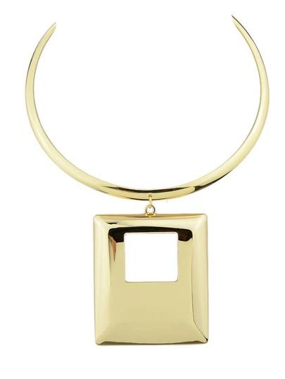 Gold Color Big Square Pendant Necklace