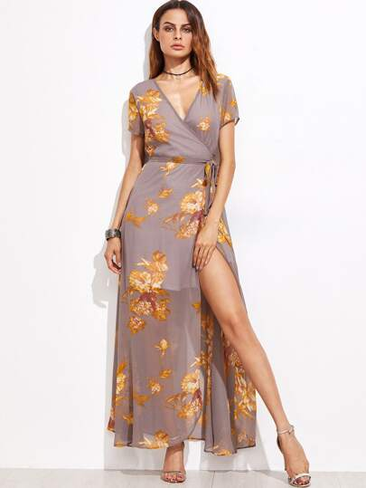 Grey Flower Print Self Tie Warp Dress