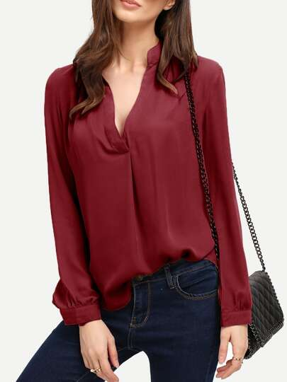V Neck Curved Hem Blouse