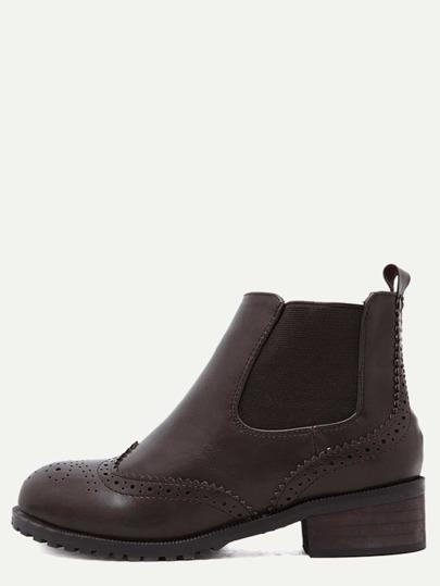 Коричневые модные сапоги на пробковых каблуках