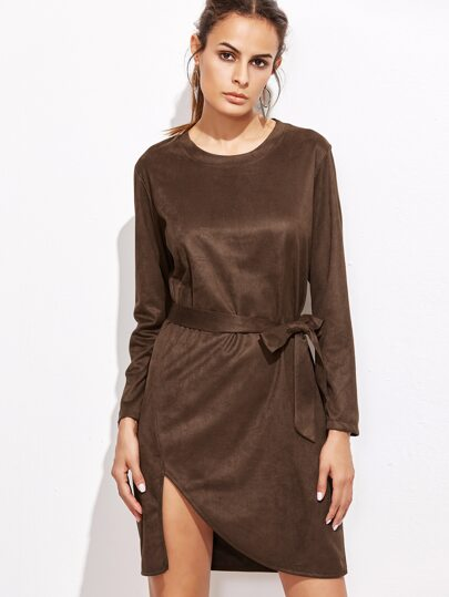 Khaki Slit Asymmetric Hem Dress With Belt