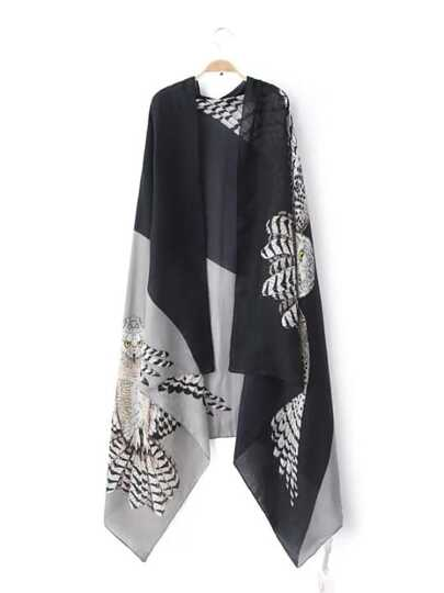 Black Two Tone Print Voile Shawl Scarf