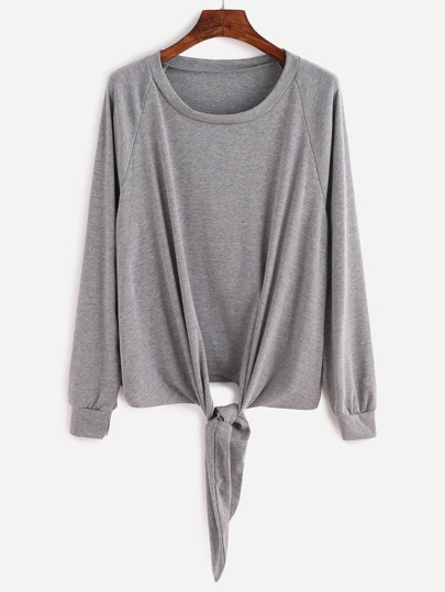 Grey Raglan Sleeve Knotted Sweatshirt