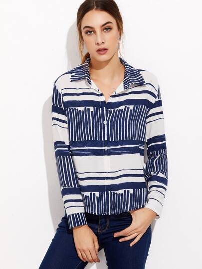 Contrast Stripe Curved Hem Shirt