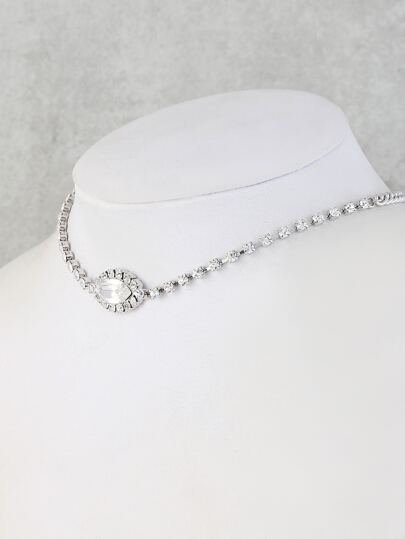 Faux Crystal Almond Choker Necklace SILVER