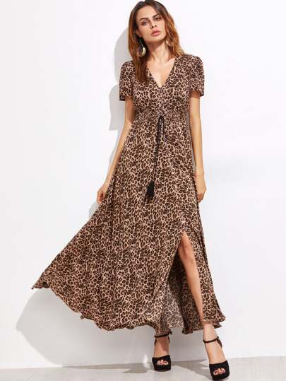 Coffee Leopard Fringe Detail Split Dress