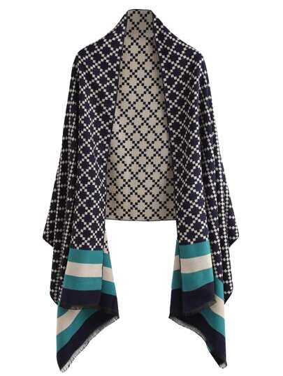 Чёрный модный шарф-накидка с геометричным принтом