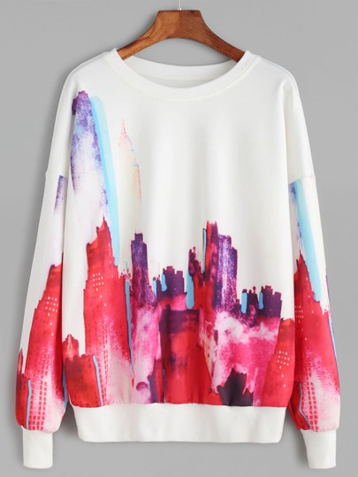White Abstract Print Drop Shoulder Sweatshirt