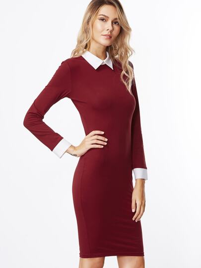Burgundy Contrast Collar And Cuff Sheath Dress