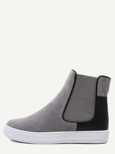 Nubuck Leather Black and Grey Rubber Sole Chelsea Boots