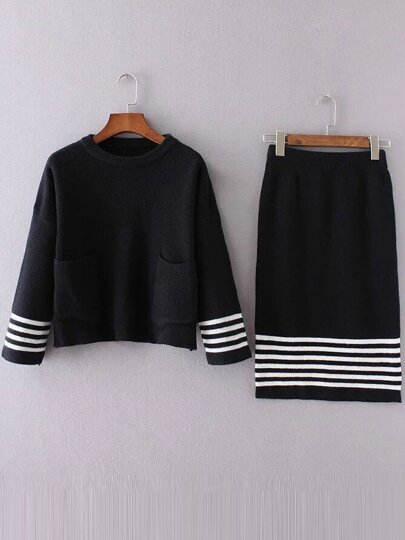 Black Striped Front Pocket Sweater With Skirt