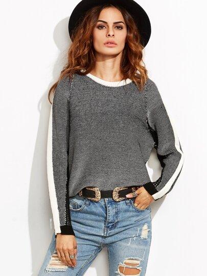 Black Contrast Trim Stripe Sleeve Raglan Sweater