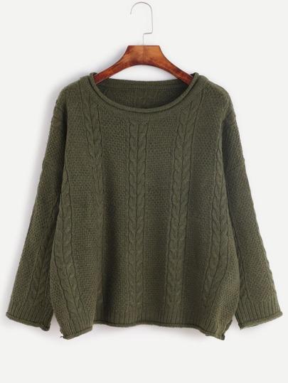 Jersey de punto con hombro caído - verde oscuro