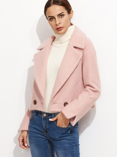 Pink Drop Shoulder Coat With Pockets