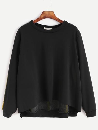 Contrast Plaid Dip Hem Sweatshirt