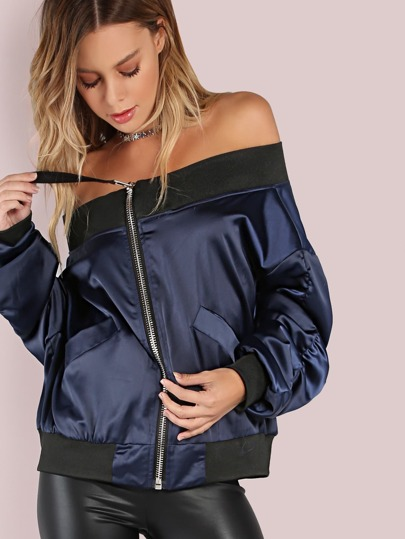 Off the Shoulder Ruched Zip Up Bomber Jacket NAVY