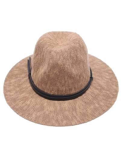Khaki Faux Leather Band Braided Fedora Hat