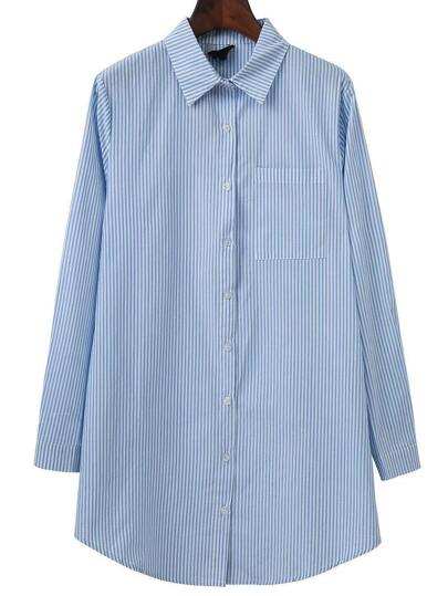 Blue Vertical Striped Blouse With Pocket