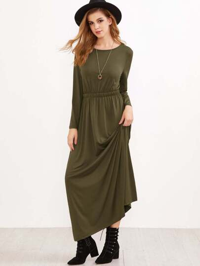 Army Green Elastic Waist Maxi Dress