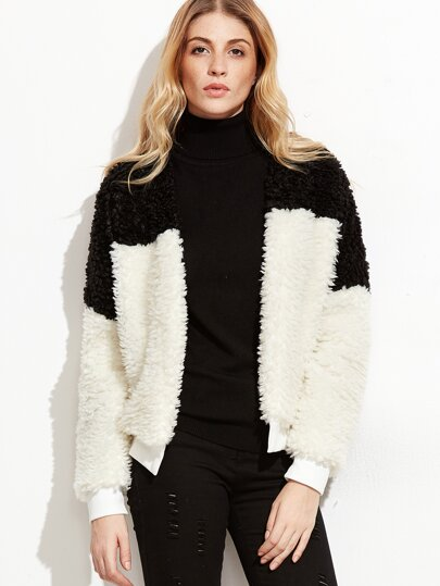 Contrast Ribbed Trim Open Front Faux Fur Jacket
