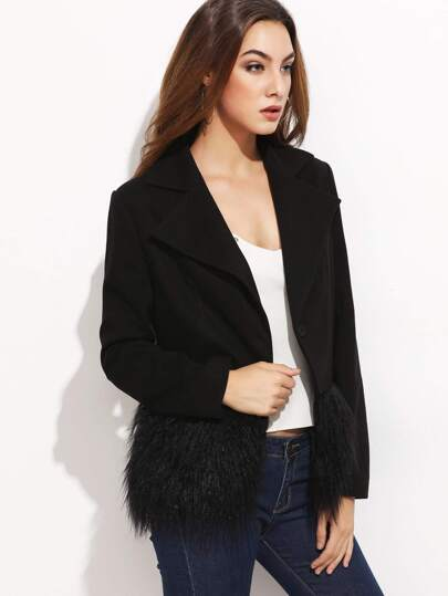 Black Notch Collar Faux Fur Trim Blazer