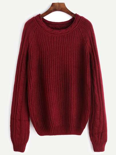 Burgundy Mixed Knit Raglan Sleeve Sweater