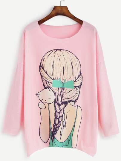 Pink Girl Print Drop Shoulder T-shirt
