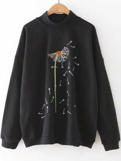 Black Dandelion Embroidery Mock Neck Sweatshirt