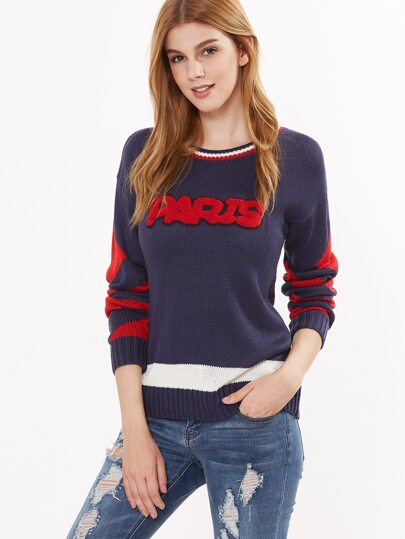 Color Block Chevron Pattern Sweater With Letter Patch