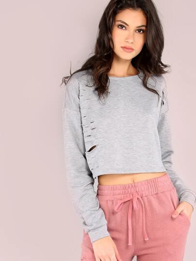 Heather Grey Ripped Crop Sweatshirt
